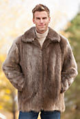 Men's Brayman Long Haired Beaver Fur Coat