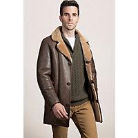 Men's Daniel Shearling Sheepskin Coat, Castano Brown, Size 46 Western & Country