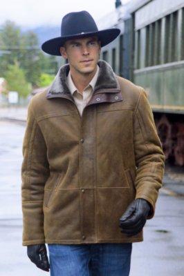 Telluride Shearling Sheepskin Coat with Leather Trim