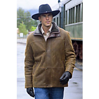 Men's Telluride Shearling Sheepskin Coat With Leather Trim, Whiskey, Size 42 Western & Country