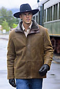Telluride Shearling Sheepskin Coat with Leather Trim