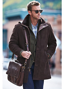 Men's Brunswick Shearling Sheepskin Coat with Lambskin Leather Trim