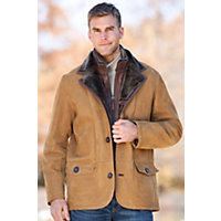 Men's Springfield Shearling Sheepskin Blazer With Zip-Out Leather Bib, Suede Nubuck Gold, Size 44 Western & Country