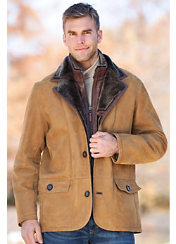 Springfield Shearling Sheepskin Blazer with Zip-Out Leather Bib