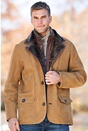 Men's Springfield Shearling Sheepskin Blazer with Zip-Out Leather Bib