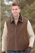 Hayden Shearling Sheepskin Vest with Leather Trim