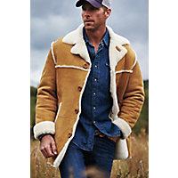 Men's El Dorado Shearling Sheepskin Coat, Suede Sahara Tan, Size 44 Western & Country