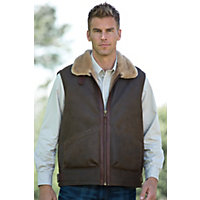 Men's General Patton Shearling Sheepskin Vest, Castano Brown, Size 42 Western & Country