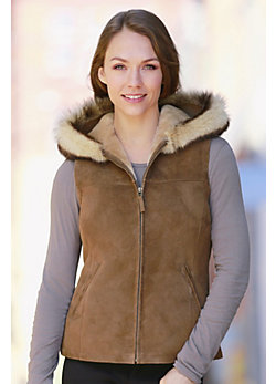 Women's Tammy Shearling Sheepskin Hooded Vest with Toscana Trim