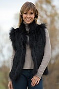 Women's Lynette Knitted Rabbit Fur Vest with Fox Fur Trim