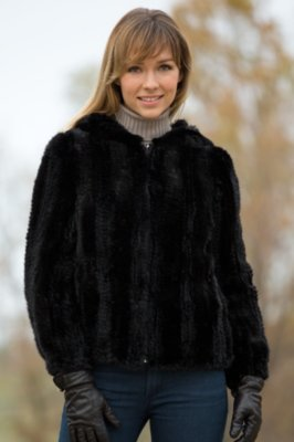 Jenna Knitted Mink Fur Jacket with Hood