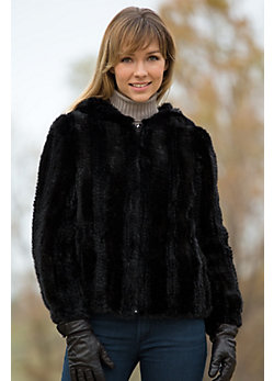 Women's Jenna Knitted Mink Fur Jacket with Hood