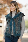 Women's Sweetbriar Vest with Knitted Rabbit Fur & Fox Fur Trim