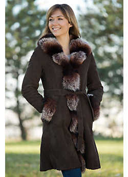 Women's Gemma Shearling Sheepskin Coat with Fox Fur Trim