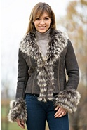 Women's Zoe Shearling Sheepskin Jacket with Raccoon Fur Trim