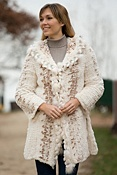Women's Rosalind Knitted Rabbit Fur Jacket with Fox Fur Trim