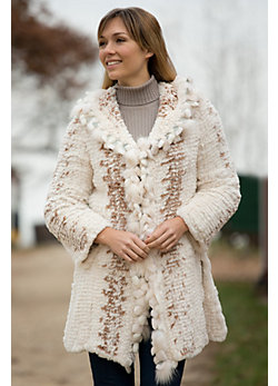 Women's Rosalind Knitted Rex Rabbit Fur Jacket with Fox Fur Trim