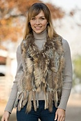 Women's Willow Knitted Rex Rabbit Fur Vest with Raccoon Fur Trim