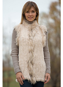 Women's Lili Knitted Rabbit Fur Vest with Raccoon Fur Trim
