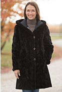 Women's Aloisa Reversible Mink Fur Coat with Hood