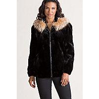 Image of Adeline Hooded Danish Mink Fur Jacket with Silver Fox Fur Trim