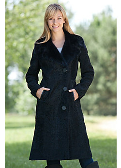 Women's Dania Curly Lamb Fur Coat with Mink Fur Trim