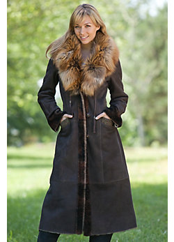 Women's Ivanna Shearling Sheepskin Coat with Fox Fur Trim
