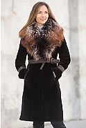 Women's Rochelle Astrakhan Lamb Coat with Silver Fox Fur Collar