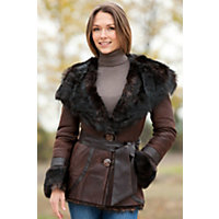 Women's Shasta Hooded Shearling Sheepskin Jacket With Toscana Trim, Brown / Wild, Size Small (4) Western & Country