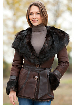 Shasta Hooded Shearling Sheepskin Jacket with Toscana Trim