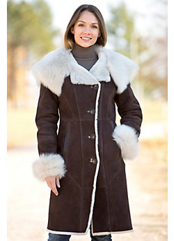 Wendy Hooded Shearling Sheepskin Coat with Toscana Trim