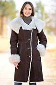 Women's Wendy Hooded Shearling Sheepskin Coat with Toscana Trim