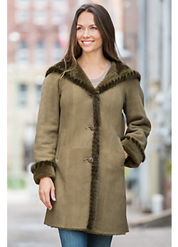 Women's Marilu Hooded Shearling Sheepskin Coat with Mink Fur Trim