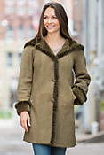 Marilu Hooded Shearling Sheepskin Coat with Mink Fur Trim