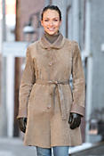 Women's Beatrice Reversible Calfskin Leather and Astrakhan Lamb Coat