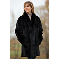 Women's Faye Reversible Leather and Sheared Mink Fur Coat, BLACK, Size LARGE (14)