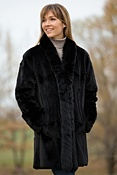 Women's Faye Reversible Leather and Sheared Mink Fur Coat