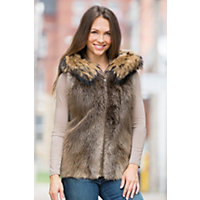 Women's Hazel Longhaired Beaver Fur Vest With Raccoon Fur Trim, Blonde, Size Large (12-14) Western & Country