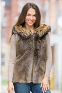Women's Demi Long-Haired Beaver Fur Vest with Raccoon Fur Trim