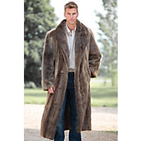 Men's Dominic Full-Length Double-Breasted Longhaired Beaver Fur Coat, Blonde, Size 38 Western & Country