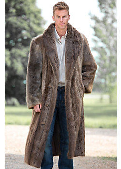 Men's Dominic Full-Length Double-Breasted Longhaired Beaver Fur Coat