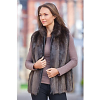 Women's Diane Longhaired Beaver Fur Vest, Hazel, Size Xsmall (2-4) Western & Country