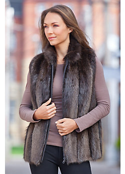 Women's Diane Long-Haired Beaver Fur Vest