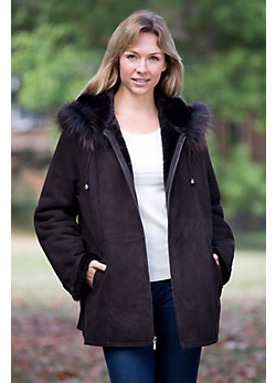 Women's Larissa Sheepskin Coat with Raccoon Fur Trim