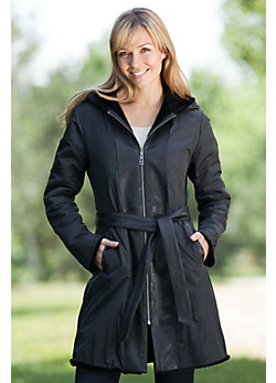 Women's Lajita Reversible Shearling Sheepskin Coat with Microfiber and Leather Trim