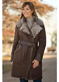 Women's Joetta Microfiber Coat with Shearling Lining and Toscana Trim