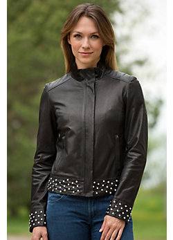 Women's Marissa Lambskin Leather Jacket with Swarovski Crystals