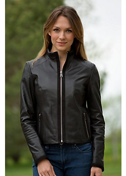 Women's Brinda Lambskin Leather Jacket with Suede Trim