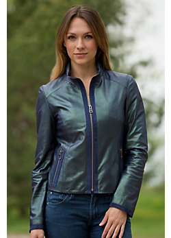 Women's Trina Lambskin Leather Jacket with Suede Trim