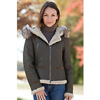 Women's Covina Shearling Sheepskin Bomber Jacket With Raccoon Fur Trim, Olive, Size Smal (6) Western & Country